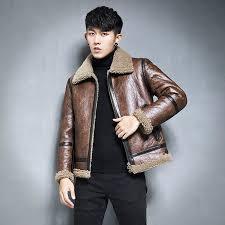 mens leather jacket short fur coat wax