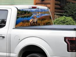 Product Deer Mountains River Us Landscape Nature Rear Window Decal Sticker Pick Up Truck Suv Car Any Size