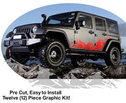 Jeep Wrangler Mountain Range Body Side Graphics Kit 2007 2017
