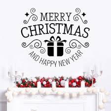 Merry Christmas Vinyl Window Stickers Gift Box Wall Murals Happy New Year Pattern Vinyl Decal Xmas Decoration Az945 Matearadsar243