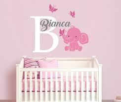 Elephant Custom Name Personalized Initial Wall Decal Sticker For Nursery Girl S Cuarto De Elefante Elefante Para Bebe Baby Shower