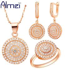 rose gold color wedding jewelry sets
