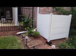 Hide Your Unsightly Yard Items Such As Trash Bins Or Air Conditioner With The Premium White Viny In 2020 Screen Enclosures Outdoor Shower Enclosure Vinyl Privacy Fence