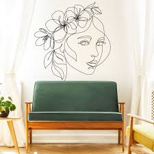 Line Drawing Wall Decal Head Wreath Line Drawing Focal Wall Etsy In 2020 Wall Decals Girls Wall Decor Focal Wall