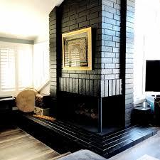 painted black brick fireplace diy