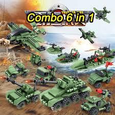 Bộ Đồ hơi Xếp Hình Lắp Ráp Lego Quân Đội 6 Trong 1 Xanh Nhạt - Đồ Chơi Phát  Triển Trí Tuệ