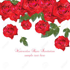 Tarjeta Acuarela Rosas Rojas Frontera Floral Vintage Para