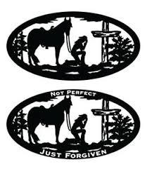 Cowgirl Praying Kneeling Scene Cross Oval Decal Window Bumper Sticker 2 Sizes 2 Ebay