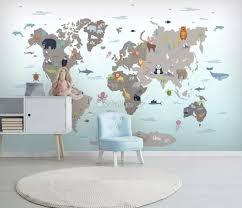 Gray Kids World Map Wallpaper Mural Wallmur