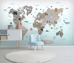 gray kids world map wallpaper mural