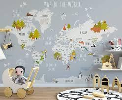 Amazon Com Murwall Kids Map Of The World Nursery Wallpaper Animal Wall Murals Boys Bedroom Girls Bedroom Kindergarten Wall Decor Baby Room Handmade