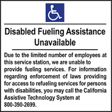 Ada Disabled Fueling Assistance Unavailable 6x6 Package Of 3 Labels