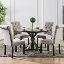 Alfred Round Dining Room Set W Light Gray Chairs Furniture Of America Furniture Cart