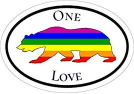 Amazon Com Wickedgoodz Oval Rainbow Bear One Love Vinyl Decal Gay Pride Bumper Sticker California State Gift Automotive