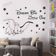 Cartoon Fly Elephant Qoutes Dream Big Little One Wall Decals Kids Room Home Decor Vinyl Art Wall Stickers In The Nursery Y299 Wall Stickers Aliexpress