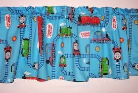 Thomas The Train And Friends Riding The By Grammyskidsloveys Home Living Curtains Win Valance Window Treatments Colorful Kids Room Blue Window Treatments