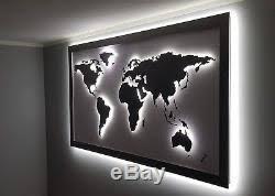 Steel World Map 3d Led Light Large Polished Wall Decor Handmade Metal Art Lamp