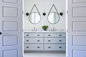 bath vanity with dark nickel cup pulls