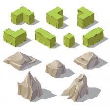 3d isometric green bushes grey stones