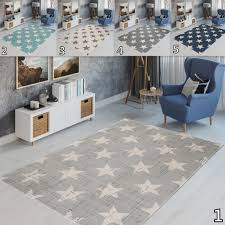 Kid S Bedroom Rugs Nursery Mats In Grey Blue Cream Trendy Stars Pattern 8mm Pile Ebay