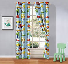 Amazon Com Kids Zone Home Linen 2 Panel Curtain Set With Grommet For Boys Girls Teens Bedroom Multicolor Set School Bus Fire Truck Cars Traffic Blue Green Yellow New Kitchen Dining