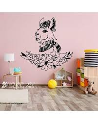 Deals On Alpaca Wall Decal Llama Floral Wall Decals Nursery Alpaca Decor Kids Room Sticker Llama Flowers Gift Wall Art For Nursery Kid Room Playroom