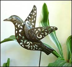 handcrafted metal bird plant stake