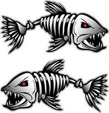 Amazon Com Digital Skeleton Fish 2 Vinyl Decals For Boat Fishing Graphics Bone Sticker Sports Outdoors
