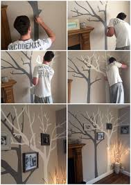 Our Hand Painted Tree Wall Art Diy Family Tree White And Grey On Top Of Cappuccino Wall Colour Addition Of Ph Diy Room Decor Diy Home Decor Bedroom Room Diy