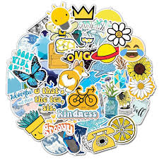 2020 Outdoors Sun Yellow Blue Aesthetic Sticker Pack Vinyl Waterproof Trendy Water Bottle Laptop Stickers Decal Graffiti Patches From Blake Online 1 2 Dhgate Com