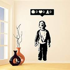 Amazon Com Assorted Decals Banksy Vinyl Wall Decal Boy Crying Out For Social Media Attention Child With Facebook Phone Street Art Graffiti Sticker Free Decal Sk337 W36 H80 Home Kitchen