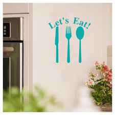 Let S Eat Knife Fork Spoon Vinyl Lettering Wall Decal Sticker Why So Blue These 107 Turquoise Kitchen Pieces Will Bring Major Color Into Your Home Popsugar Family Photo 95