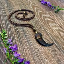 grizzly bear claw leather necklace