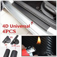 4x 3d Carbon Fiber Vinyl Decal Car Door Sill Step Scratch Protect Stickers Hk K