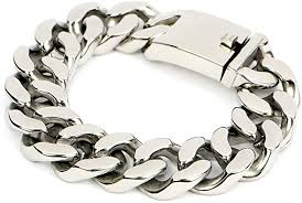 Felix Perry Men's Large Heavy Chain Link Bracelet Stainless Steel Silver  Color High Polished 8.85 Inch: Amazon.co.uk: Jewellery