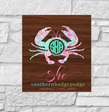 Lilly Inspired Crab Vinyl Decal With Monogram Car Decal Vinyl Decal Lilly Crab Decal Crab Monogram Deca Car Monogram Decal Car Decals Vinyl Monogram Decal