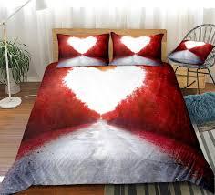 love heart bedding set red white duvet