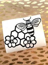 Honey Bee Vinyl Decal Free Shipping Honeycomb Bee Flower Etsy