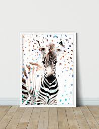 Zebra Art Kids Room Decor Zebra Painting Nursery Wall Decor Etsy