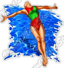 Diver Water Jump Swim Swimming Swimmer Dive Car Bumper Vinyl Sticker Decal 4 X5 Ebay