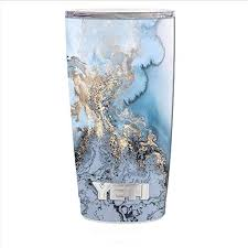 Amazon Com Skin Decal Vinyl Wrap For Yeti 20 Oz Rambler Tumbler Cup Skins Stickers Cover Blue Gold Grey Marble Pattern Clouds Kitchen Dining