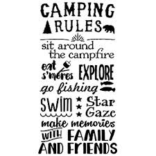Wall Decor Plus More Wdpm3806 Camping Rules Subway Art Quotes Wall Letters For Summertime Wall Stickers Decal Black 37x20 Amazon Com