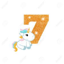 Oro Brillante Numero Siete Numero Del Aniversario Con El