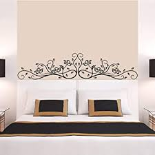 Amazon Com Wall Stickers Murals Black Flowers Rattan Wall Art Mural Decor Sticker Fashion Headboard Wall Graphic Poster Decal Bedside Wall Applique Baby