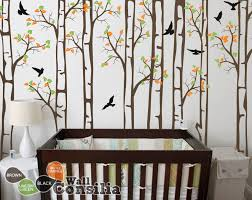Large Birch Trees With Birds Decal Baby Wall Decalswallconsilia Com
