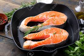 Grill Pan. Cooking Red Fish Stock Photo ...