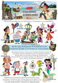 Kit Imprimible Jake Y Los Piratas De Nunca Jamas Invitaciones