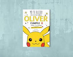 Pikachu Pokemon Invitacion Tarjeta Cumple Imprimible 150 00 En
