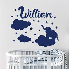 Personalized Name Baby Room Decoration Cloud Stars Cartoon Animal Elephant Custom Name Wall Sticker Boys Girls Poster Ly1728 Wall Stickers Aliexpress