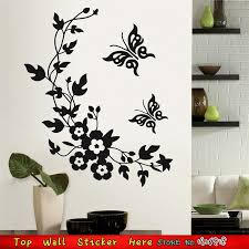 Black Henna Flower Butterflies Vinyl Wall Stickers Room Decoration Independence